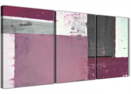 Plum Grey Abstract Painting Canvas Wall Art Picture - Multi 3 Piece - 125cm Wide - 3342