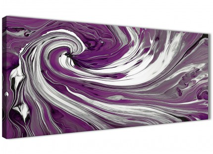 Purple White Swirls Modern Abstract Canvas Wall Art - 120cm Wide - 1353