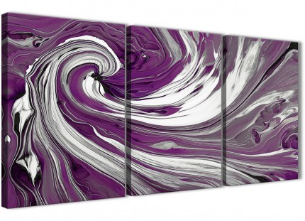 Purple White Swirls Modern Abstract Canvas Wall Art - Split Set of 3 - 125cm Wide - 3353