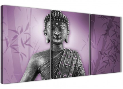 Purple and Grey Silver Canvas Art Prints of Buddha - Split Set of 3 - 3330