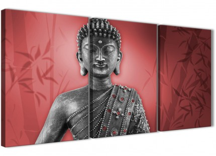 Red and Grey Silver Canvas Art Prints of Buddha - Split 3 Panel - 3331