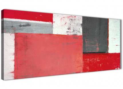 Red Grey Abstract Painting Canvas Wall Art Modern 120cm Wide - 1343