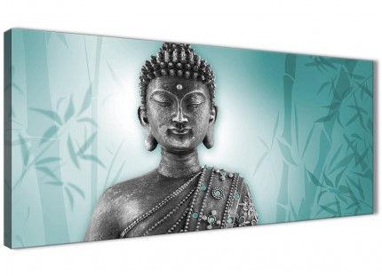 Teal and Grey Silver Canvas Art Prints of Buddha - Modern 120cm Wide - 1327