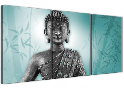 Teal and Grey Silver Canvas Art Prints of Buddha - Split 3 Panel - 3327