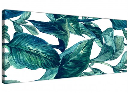 Teal Blue Green Tropical Exotic Leaves Canvas Wall Art Print - Modern 120cm Wide - 1325