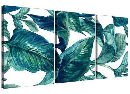 Teal Blue Green Tropical Exotic Leaves Canvas Wall Art Print - Multi 3 Part - 3325