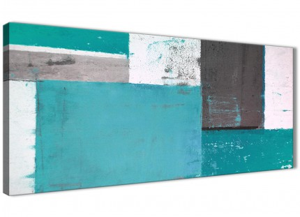 Teal Grey Abstract Painting Canvas Wall Art Modern 120cm Wide - 1344