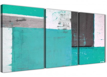 Turquoise Grey Abstract Painting Canvas Wall Art Multi Set of 3 - 125cm Wide - 3345