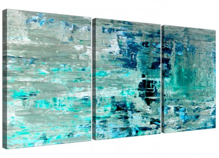 Turquoise Teal Abstract Painting Wall Art Print Canvas - Split 3 Piece - 3333