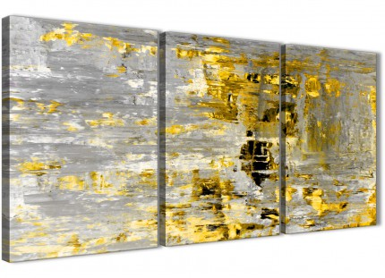 Yellow Abstract Painting Wall Art Print Canvas - Split 3 Part - 125cm Wide - 3357