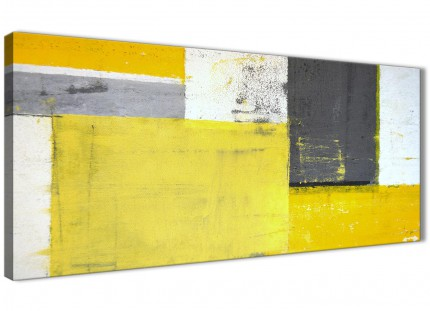 Yellow Grey Abstract Painting Canvas Wall Art Print - Modern 120cm Wide - 1346