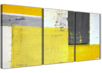 Yellow Grey Abstract Painting Canvas Wall Art Print - Split Set of 3 - 125cm Wide - 3346