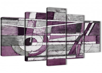 5 Piece Aubergine Grey White Painting Abstract Living Room Canvas Wall Art Decor - 5406 - 160cm XL Set Artwork