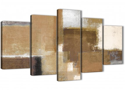 5 Panel Brown Cream Beige Painting Abstract Office Canvas Pictures Decor - 5387 - 160cm XL Set Artwork