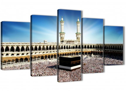 Hajj Pilgrimage Kaaba - 5 Piece Canvas Wall Art Prints - Islamic Canvas - 5191 - 160cm XL Set Artwork