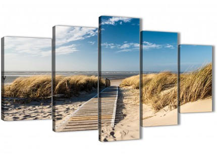 5 Piece Beach Landscape Canvas Wall Art Prints - Pathway to the Ocean - 5197 - 160cm XL Set Artwork