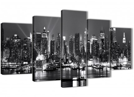 New York River Skyline - 5 Panel Cityscape Canvas Wall Art Prints - 5435 -Black White and Grey --160cm XL Set Artwork
