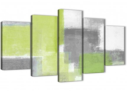5 Piece Lime Green Grey Abstract Office Canvas Pictures Decorations - 5369 - 160cm XL Set Artwork
