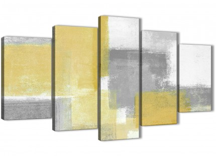 5 Piece Mustard Yellow Grey Abstract Bedroom Canvas Wall Art Decor - 5367 - 160cm XL Set Artwork