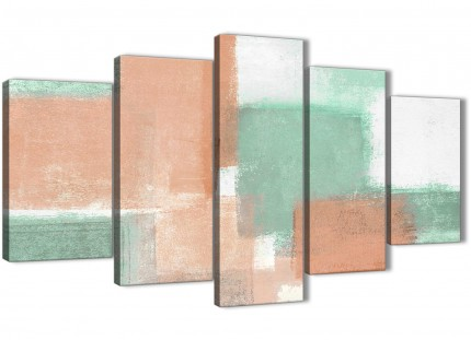 5 Piece Peach Mint Green Abstract Office Canvas Pictures Decor - 5375 - 160cm XL Set Artwork