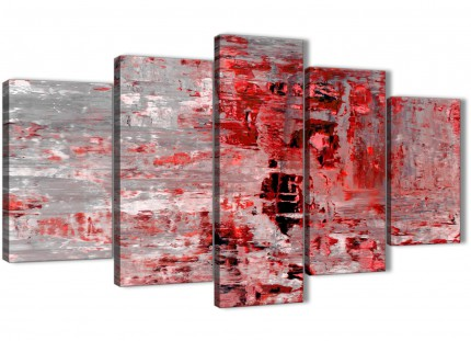 5 Piece Red Grey Painting Abstract Office Canvas Pictures Decor - 5414 - 160cm XL Set Artwork
