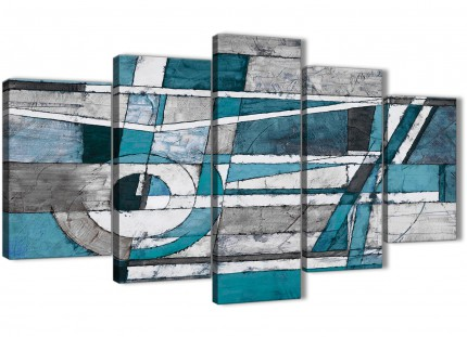 5 Panel Teal Grey Painting Abstract Living Room Canvas Wall Art Decor - 5402 - 160cm XL Set Artwork