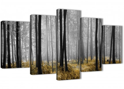 5 Part Yellow and Grey Forest Woodland Trees Dining Room Canvas Pictures Decorations - 5384 - 160cm XL Set Artwork
