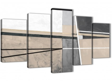 5 Panel Beige Cream Grey Painting Abstract Office Canvas Pictures Decorations - 5394 - 160cm XL Set Artwork