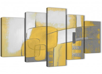 5 Part Mustard Yellow Grey Painting Abstract Living Room Canvas Pictures Decorations - 5419 - 160cm XL Set Artwork