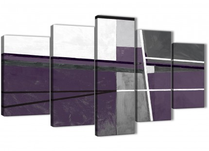 5 Piece Aubergine Grey Painting Abstract Dining Room Canvas Pictures Decor - 5392 - 160cm XL Set Artwork