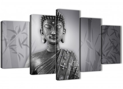 5 Piece Black White Buddha Dining Room Canvas Wall Art Decor - 5373 - 160cm XL Set Artwork