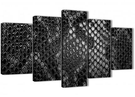 5 Panel Black White Snakeskin Animal Print Abstract Living Room Canvas Wall Art Decor - 5510 - 160cm XL Set Artwork