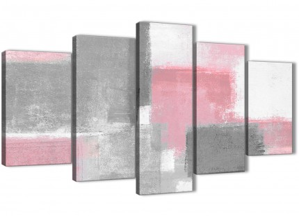 5 Panel Blush Pink Grey Painting Abstract Office Canvas Pictures Decor - 5378 - 160cm XL Set Artwork