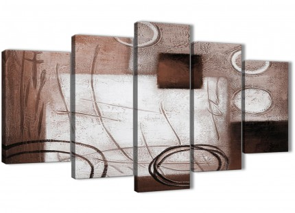 5 Panel Brown White Painting Abstract Dining Room Canvas Wall Art Decorations - 5422 - 160cm XL Set Artwork