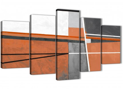 5 Panel Burnt Orange Grey Painting Abstract Office Canvas Pictures Decor - 5390 - 160cm XL Set Artwork