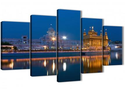 5 Panel Canvas Wall Art Prints - Sikh Golden Temple Amritsar - 5196 Blue - 160cm XL Set Artwork