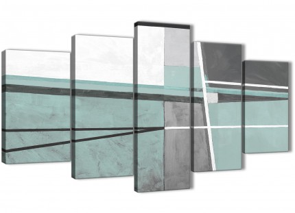 5 Piece Duck Egg Blue Grey Painting Abstract Dining Room Canvas Wall Art Decorations - 5396 - 160cm XL Set Artwork