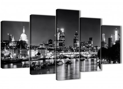 5 Panel River Thames London Skyline - Cityscape Canvas Wall Art Pictures - 5430 Black White Grey - 160cm XL Set Artwork