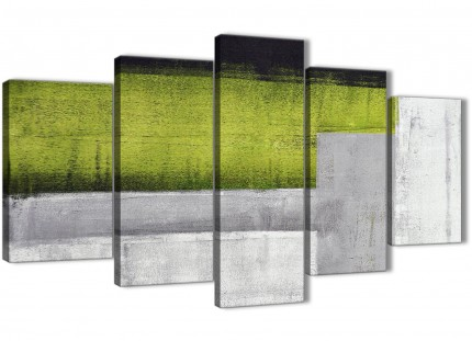 5 Panel Lime Green Grey Painting Abstract Dining Room Canvas Pictures Decorations - 5424 - 160cm XL Set Artwork