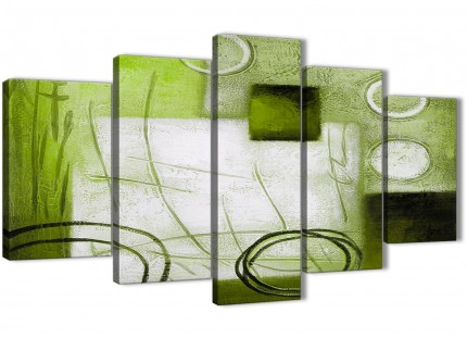 5 Panel Lime Green Painting Abstract Bedroom Canvas Wall Art Decorations - 5431 - 160cm XL Set Artwork