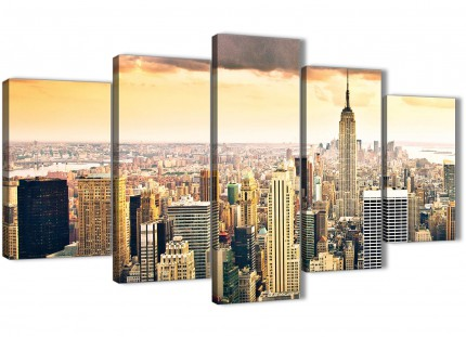 5 Panel New York Manhattan Skyline Yellow Grey City - Bedroom Canvas Wall Art - 5201 - 160cm XL Set Artwork