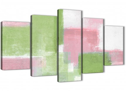 5 Panel Pink Lime Green Abstract Bedroom Canvas Pictures Decorations - 5374 - 160cm XL Set Artwork