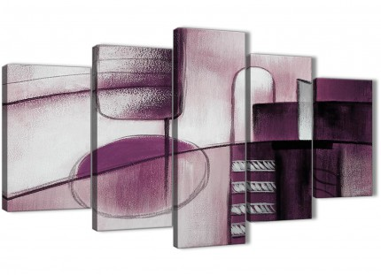 5 Panel Plum Grey Painting Abstract Living Room Canvas Pictures Decorations - 5420 - 160cm XL Set Artwork