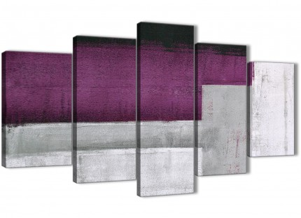 5 Panel Purple Grey Painting Abstract Bedroom Canvas Wall Art Decorations - 5427 - 160cm XL Set Artwork