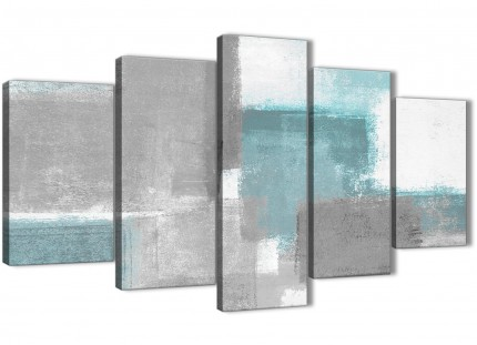 5 Piece Teal Grey Painting Abstract Dining Room Canvas Wall Art Decorations - 5377 - 160cm XL Set Artwork