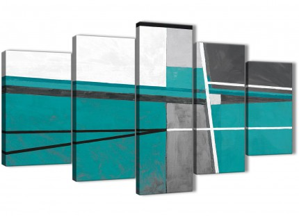 5 Piece Teal Grey Painting Abstract Dining Room Canvas Pictures Decor - 5389 - 160cm XL Set Artwork