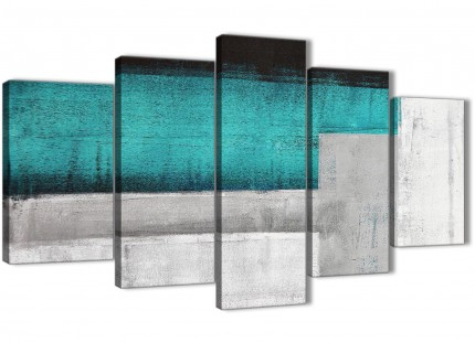 5 Piece Teal Turquoise Grey Painting Abstract Living Room Canvas Pictures Decor - 5429 - 160cm XL Set Artwork