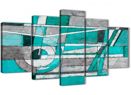 5 Piece Turquoise Grey Painting Abstract Living Room Canvas Pictures Decor - 5403 - 160cm XL Set Artwork