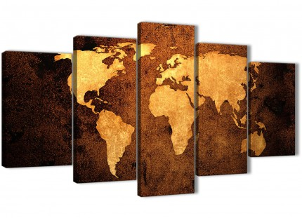 5 Part Vintage Old World Map - Brown Cream Canvas - Abstract Office Canvas Pictures Decor - 5188 - 160cm XL Set Artwork