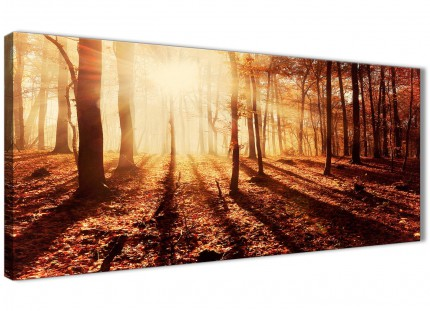 Autumn Leaves Forest Scenic Landscapes Canvas Wall Art - Trees - 1386 Orange - 120cm Wide Print